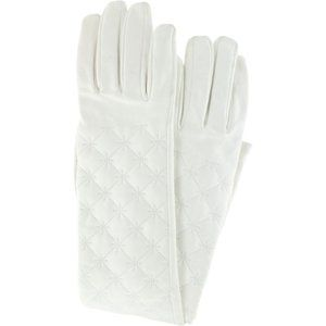 Chanel Quilted White Lambskin Leather Long Gloves